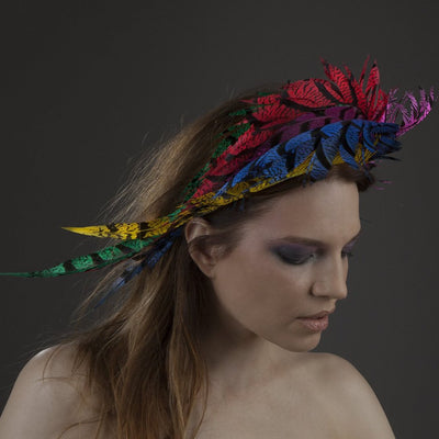 Colourful feather headband, by JCM.  Handmade in London.