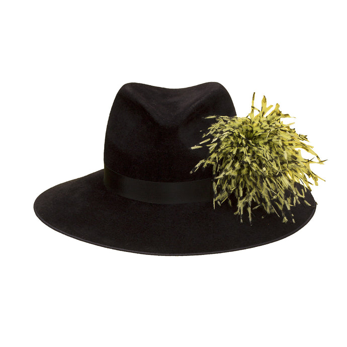 Pretty Things Feather Fedora - Black