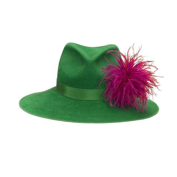 Pretty Things Feather Fedora - Green