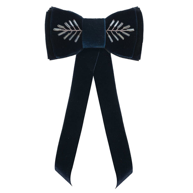 Blondie Tail Bow - Embellished - Navy