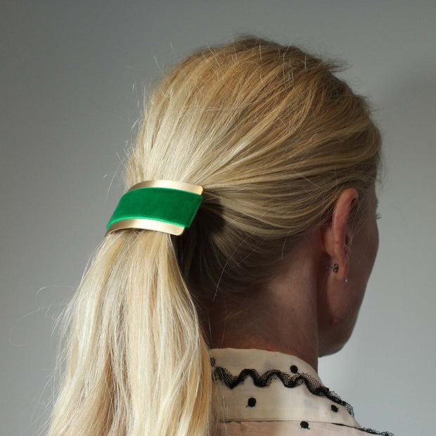 Velvet Barrette Hairclip - Emerald Green