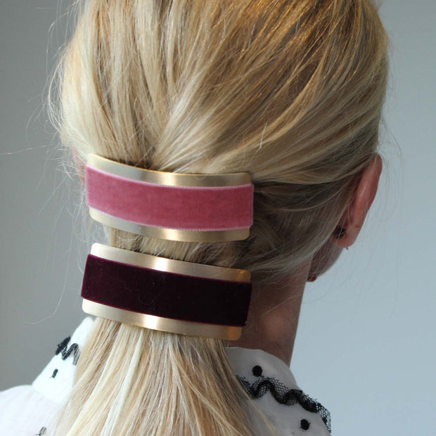 Velvet Barrette Hairclip - Dusty Pink