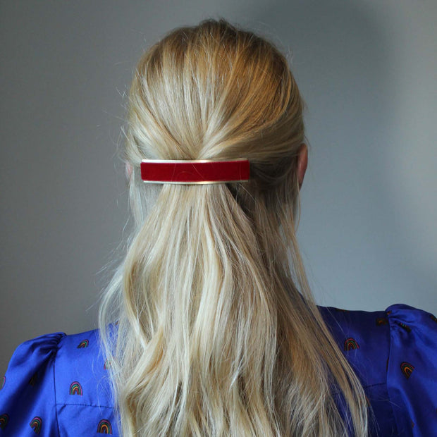 Skinny Velvet Hairclip - Red