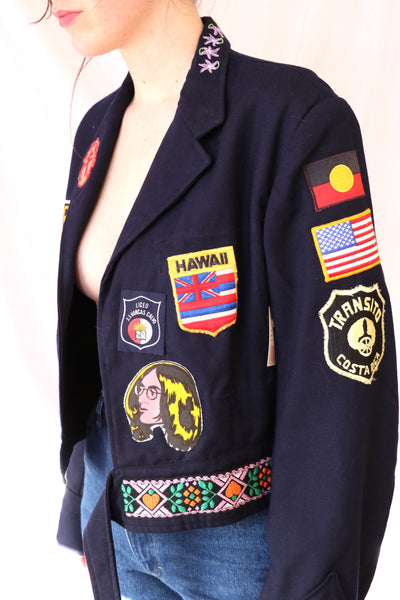 Vintage Military Jacket with Patches