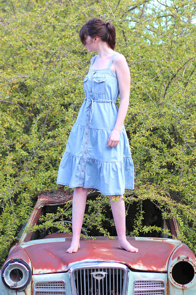 Tiered Denim Dress TWL321