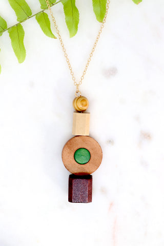 Wooden Bead Pendant Necklace