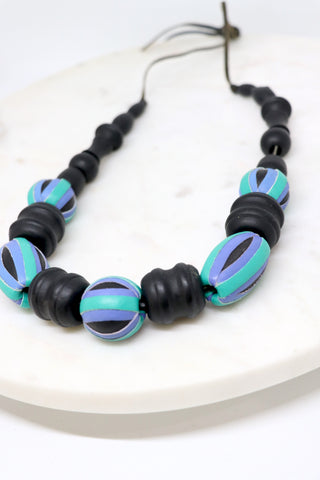 Vintage Leather-Trim Beaded Necklace