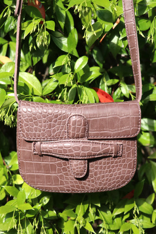 Mock Croc Envelope Bag (Dusted Brown)