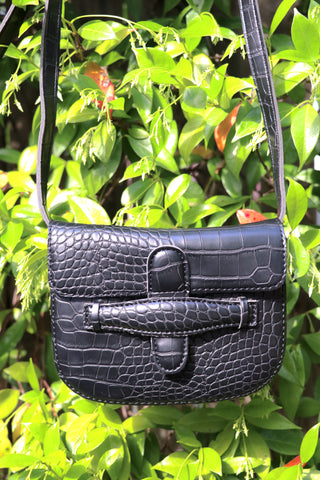 Mock Croc Envelope Bag (Black)