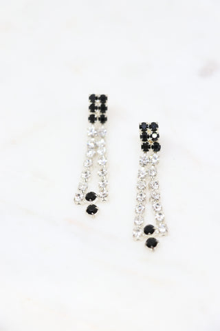 Vintage Clear & Black Rhinestone Earrings