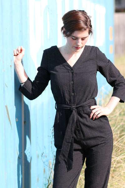 Black Grid Jumpsuit TWL273