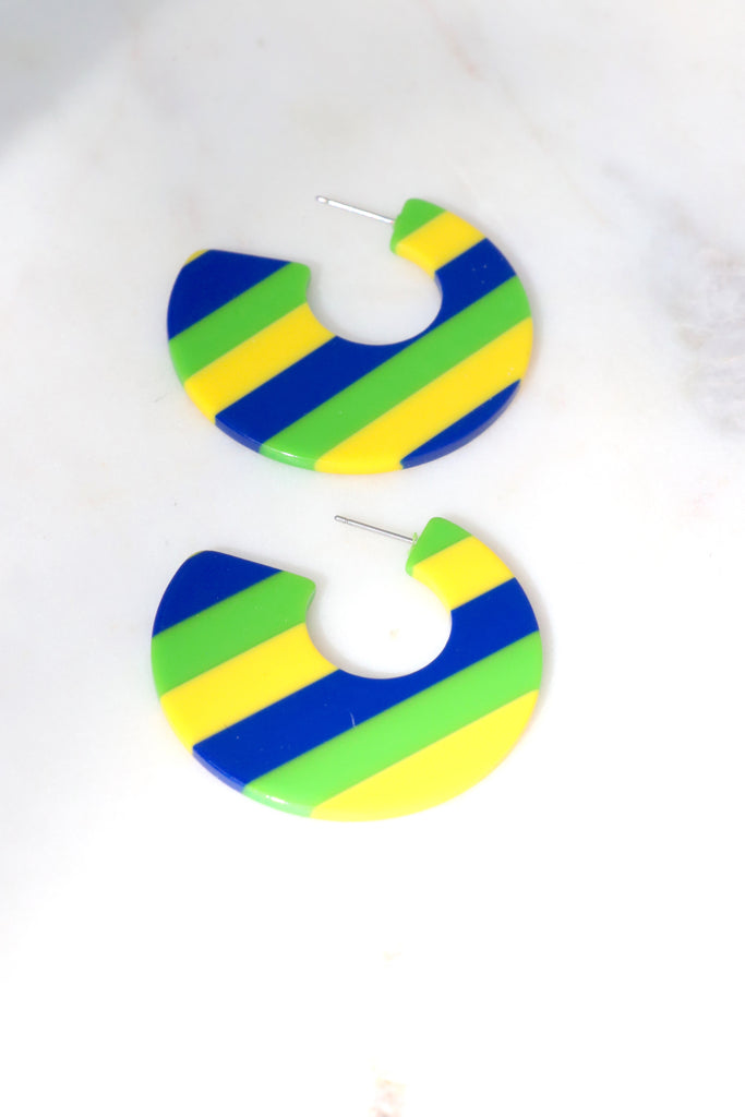 Carnival Earrings (Green, Yellow, Blue)