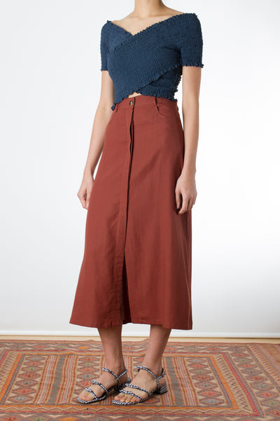 Concealed-Button Skirt TWL202