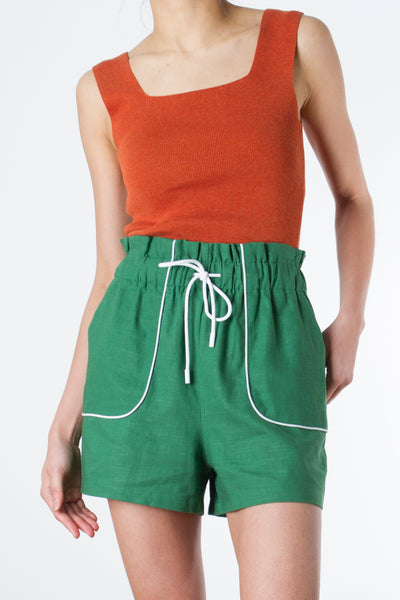 Piped Green Shorts