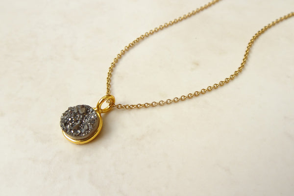 Gold and Grey Druzy Necklace