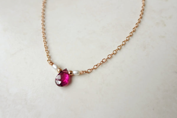 Garnet Teardrop Necklace