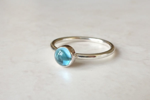 Sterling silver blue topaz stacking ring