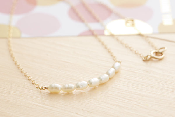Gold Pearl Necklace Bridesmaid Gift