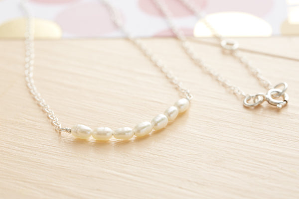 Silver Rice Pearl Necklace
