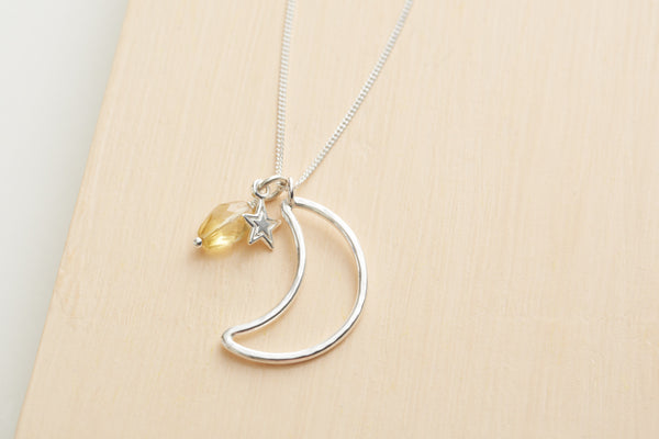 Sterling silver and citrine crescent moon necklace