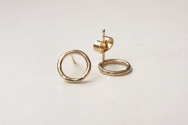 Solid Gold Circle Studs