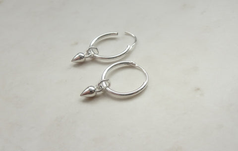 Sterling silver bullet hoop earrings
