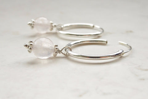 Silver and Rose Quartz Hoop Earrings