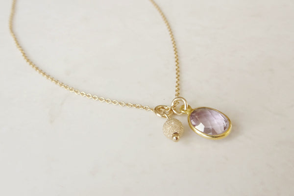Pink Amethyst Charm Necklace