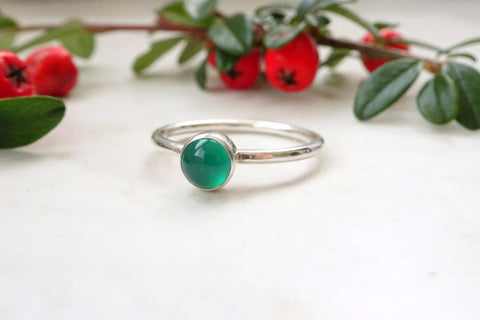 Silver Green Onyx Ring