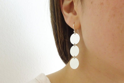 Silver Three Disc Drop Earrings