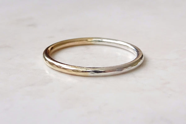 Gold and Silver Hammered Ring