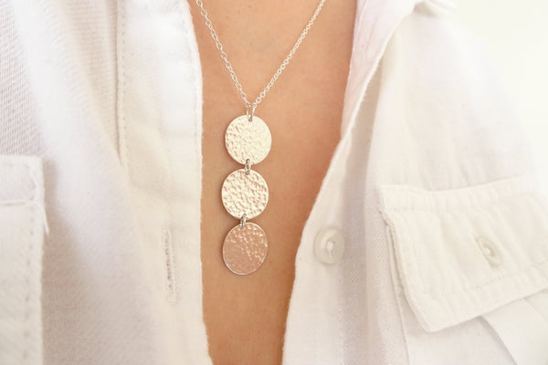 Silver Three Disc Pendant Necklace