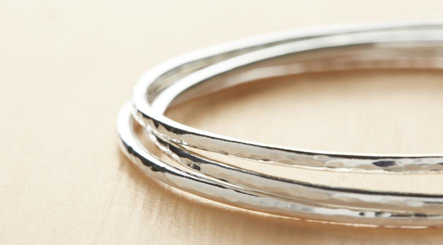 Silver Hammered Bangles