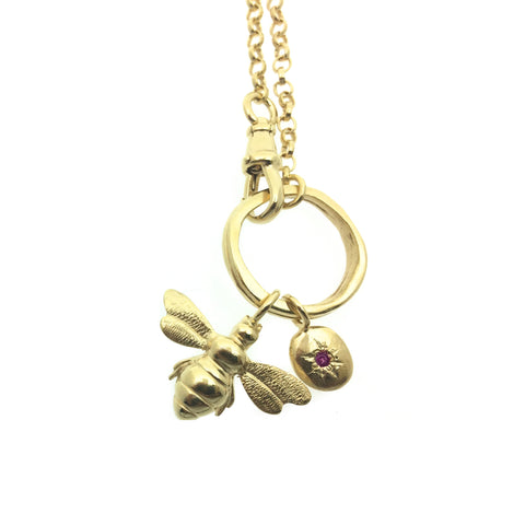 Curio Gold Bee + Gemstone Nugget Albert Necklace