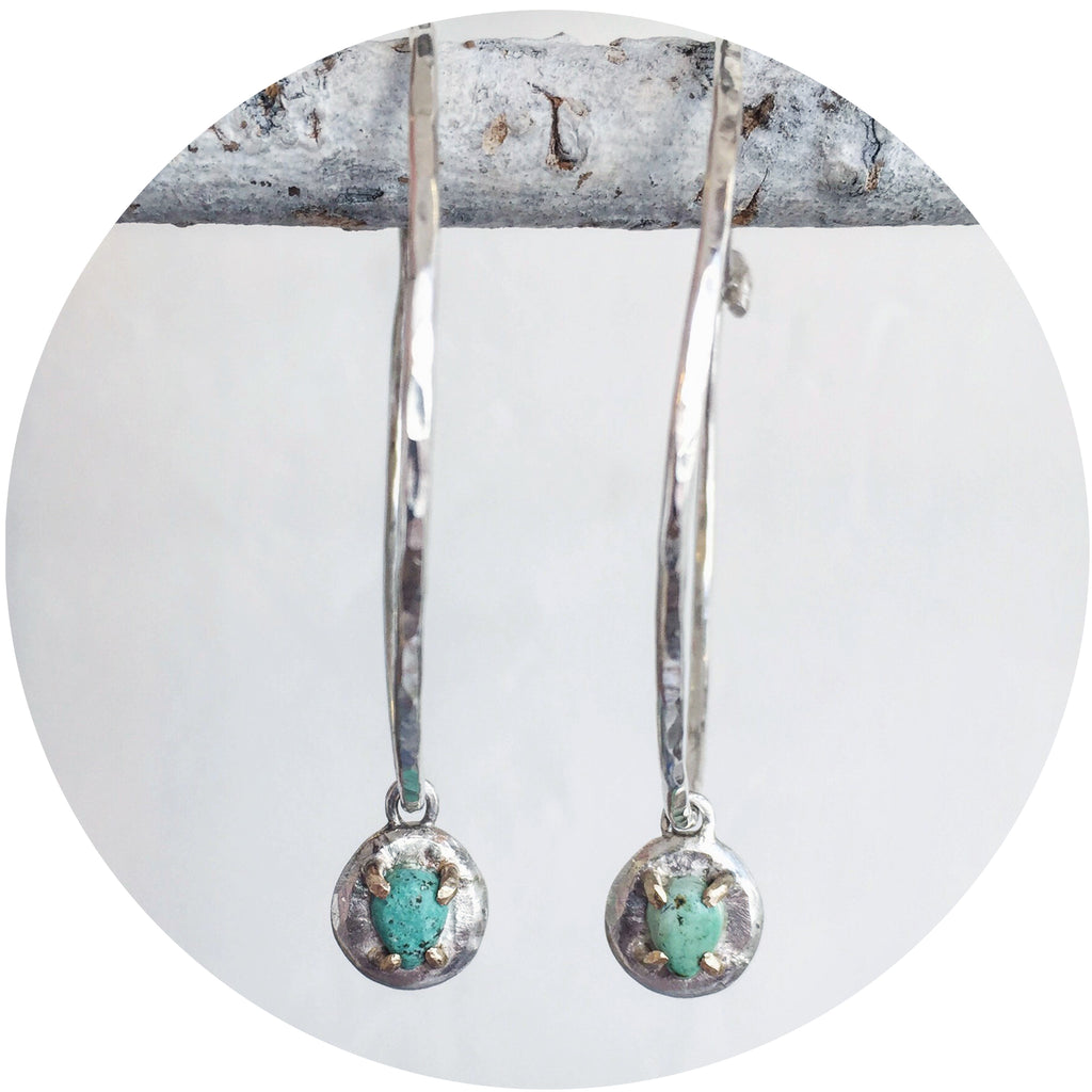 Tear Drop Turquoise Hoops