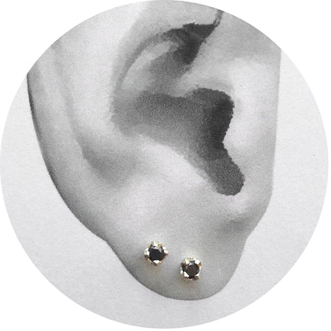 Tiny Black Diamond + White Gold Studs