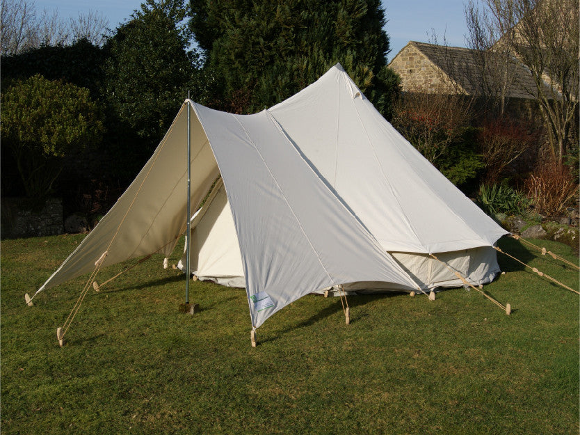 white bell tent awning