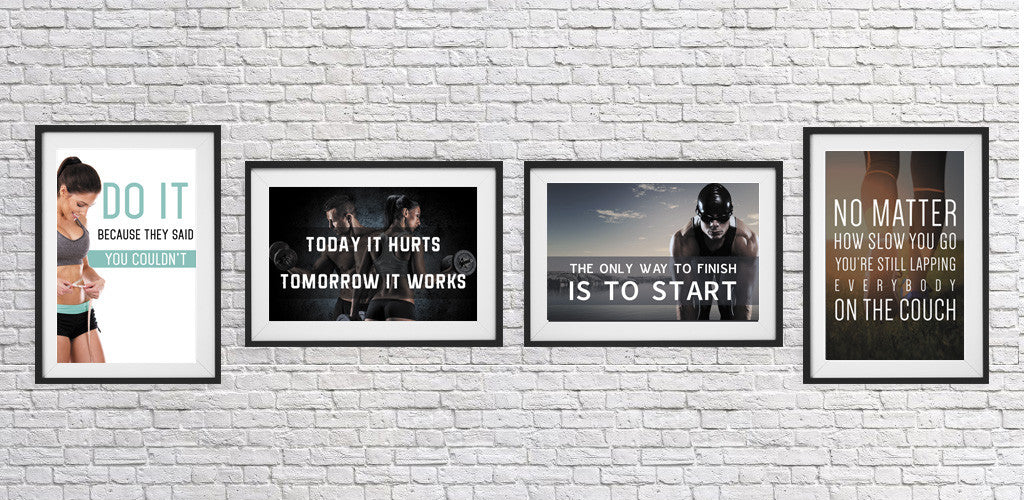 Pack with five fitness motivational posters. Great for workout rooms, home gym rooms,