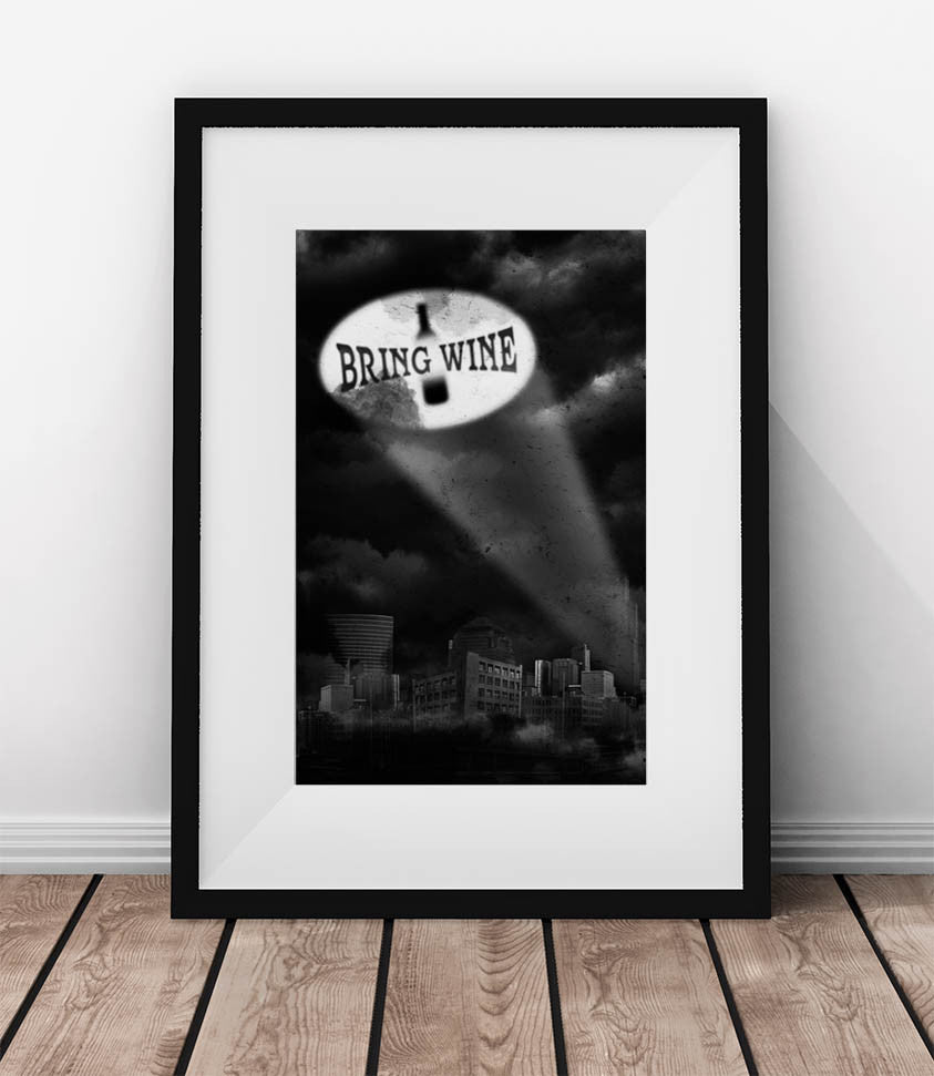 BRING WINE - Wine poster. Wall decor for wine lovers.