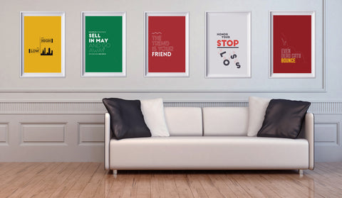 STOCK MARKET SAYINGS POSTER PACK. 5 great designs for 5 of the most well known investing sayings