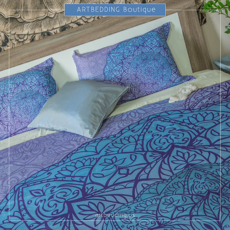 Sacred mandala bedding blue boho bedding