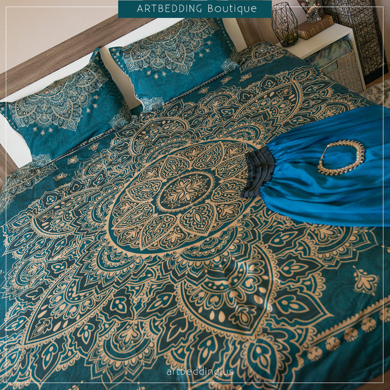 Teal gold mandala duvet bedding