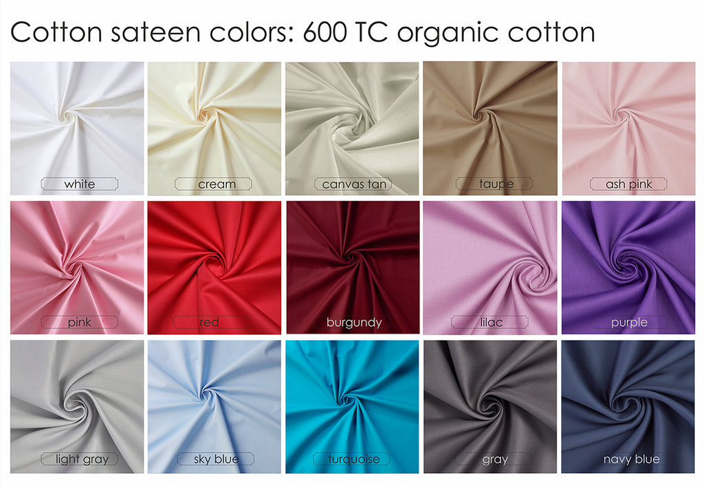 100% organic cotton sateen 16 colors 600 TC