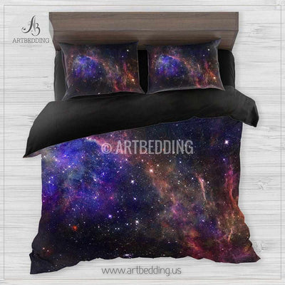 Deep space bedding set, Multicolor vibrant Nebula clouds with stars duvet bedding set, Space moon bedroom decor-ARTBEDDING