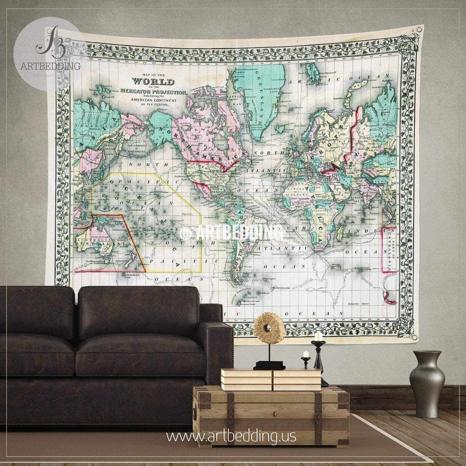 Wall murals wall tapestries canvas wall art wall decor tagged 1870 antique world map wall tapestry vintage interior map wall hanging old map wall gumiabroncs Images