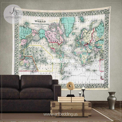 1870 Antique World Map wall tapestry, vintage interior map wall hanging, old map wall decor, vintage map wall art print Tapestry