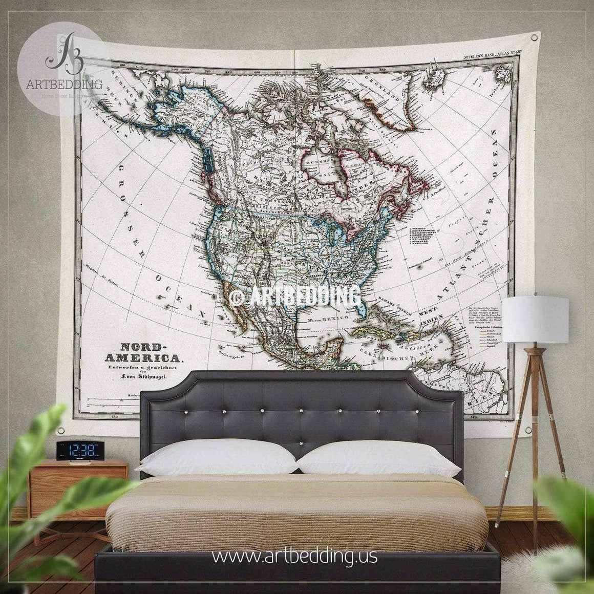1872 Antique Map of North America Stieler (Light Version) wall tapestry, vintage interior map wall hanging, old map wall decor, vintage map wall art print Tapestry
