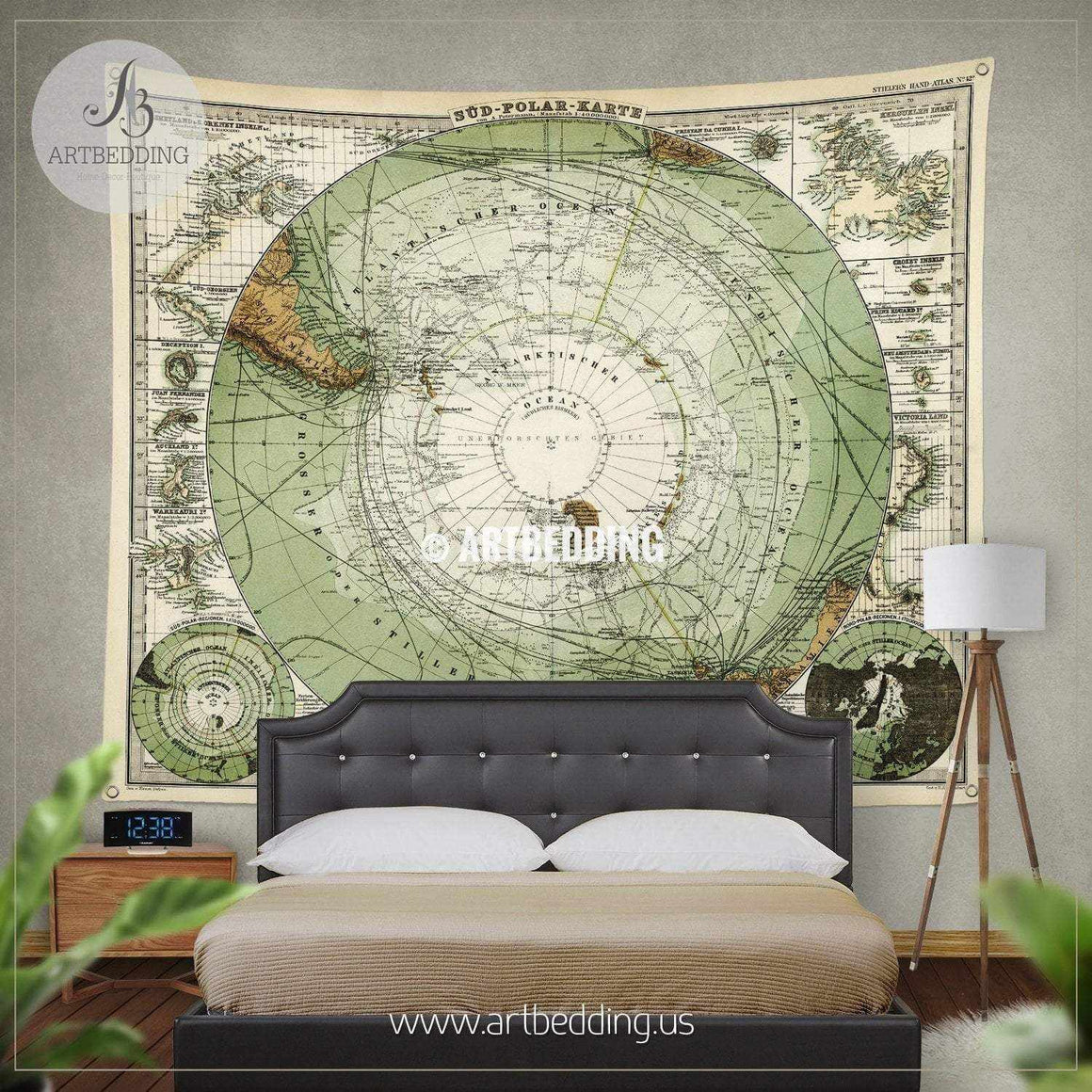 1872 Antique Stieler Map of Antarctica South Pole wall tapestry, vintage interior map wall hanging, old map wall decor, vintage map wall art print Tapestry