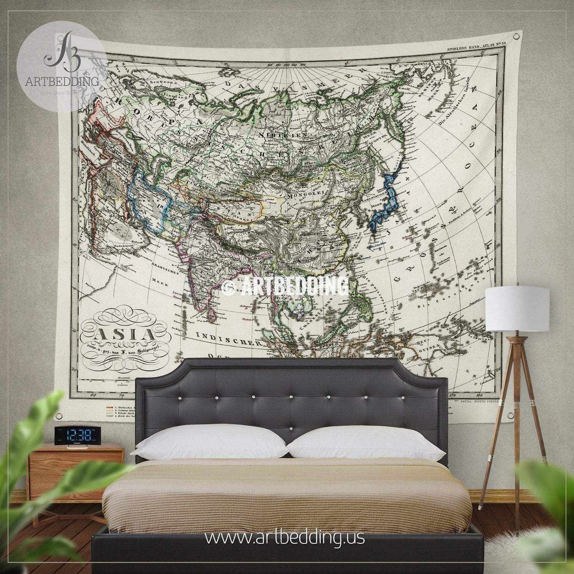 1872 Antique Stieler Map of Asia wall tapestry, vintage interior map wall hanging, old map wall decor, vintage map wall art print Tapestry