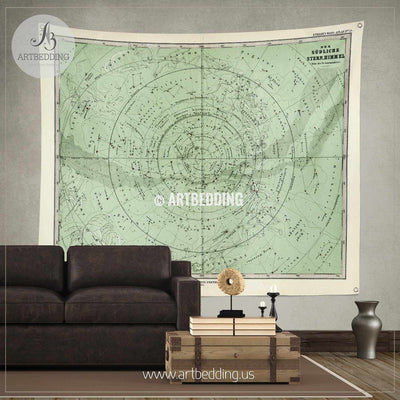 1872 Antique Stieler Map of South Sky Star Chart wall tapestry, vintage interior map wall hanging, old map wall decor, vintage map wall art print Tapestry